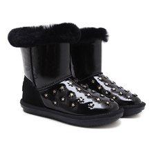 17 yeni kış tüp su geçirmez kar botları kalınlaşmış tüp çizmeler perçinler düz kaymaz pamuklu ayakkabılar kadın(China)