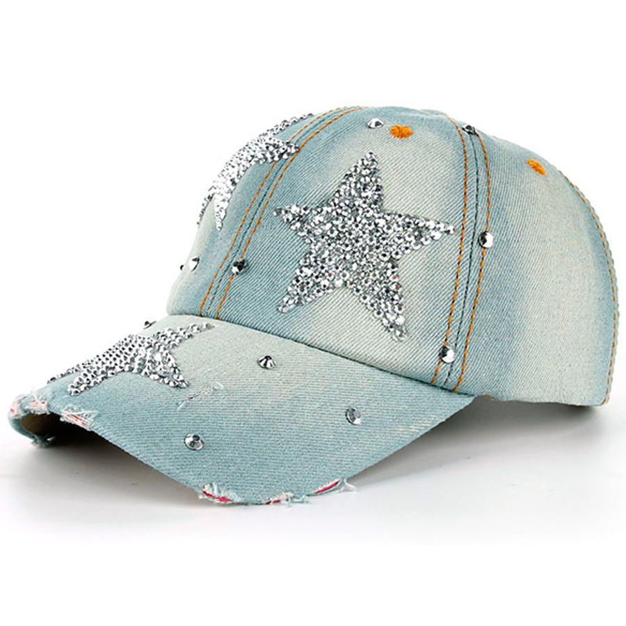 100% Manural Drill Five-pointed Star Decorated Caps Women's Rhinestone Denim Baseball Caps Casual Girls' Summer Nice Hats SY577(China (Mainland))
