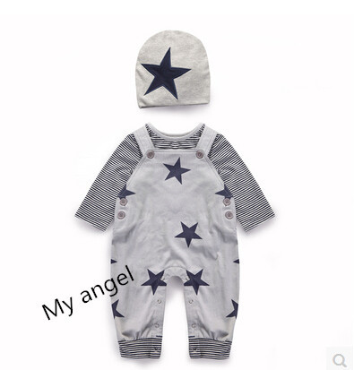 Retail 2015 New infant clothing baby boy overall 3pcs hat overall Long sleeved T shirt baby
