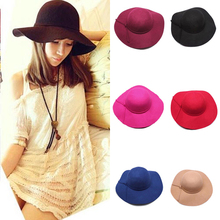 New Vintage Sun Hats For Women Ladies Floppy Wide Brim Wool Felt Fedora Cloche Hat Cap 6 Color Free Shipping(China (Mainland))