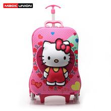Hot Sale Hellokitty Children School Bags 16inch High Quality Nylon Backpacks Lighten Burden On Shoulder For Kids Trolley Bag(China (Mainland))