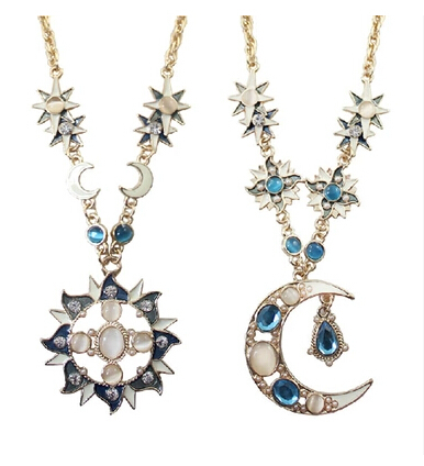 Hello Kitty Mix 10$ N4373 fashion cat's eye gold sun god Apollo or moon Luna crystal pendent necklace chain for women(China (Mainland))