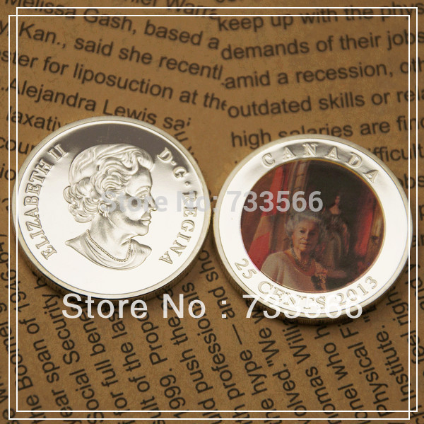 Hottest Free Shipping 100pcs Canada Elizabeth II 2013 60th Anniversary of Her Majesty's Coronation gift coin(China (Mainland))