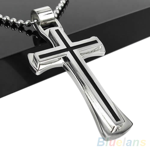 Men Women Cool Black Silver Stainless Steel Cross Pendant Chain Necklace