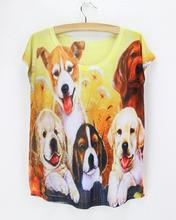New Pet Dog 3d Printing T-shirt Fashion wholesale harajuku t shirt Women Summer Ladies Original tops YK204(China (Mainland))