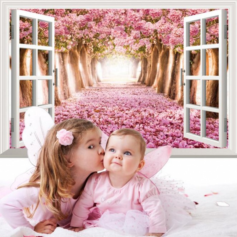 Green Home Wall Decoration Creative Portable 3D Stereoscopic Fake Window Wall Stickers Living Room Bedroom Wallpaper(China (Mainland))
