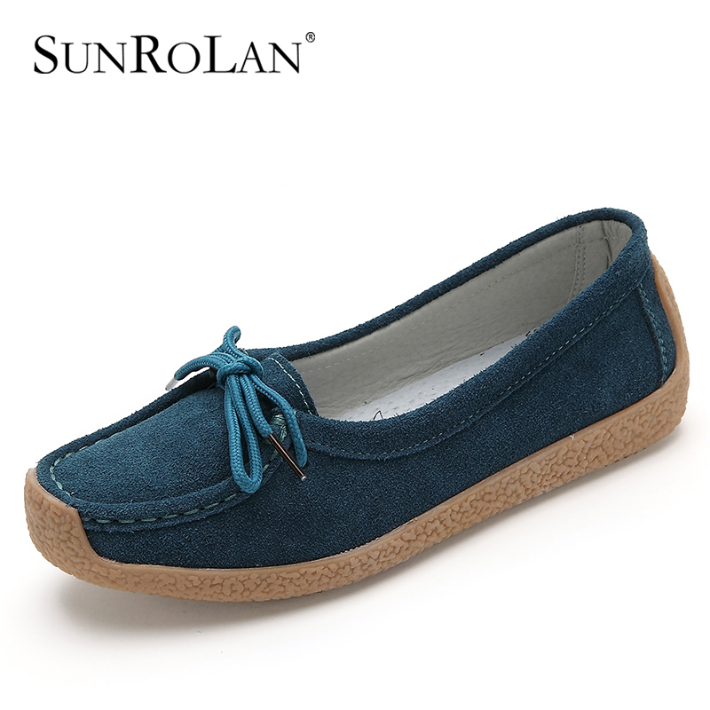 Spring women genuine leather shoes woman suede leather flats rubbler tenis feminino women loafers solid color ladies shoes 9802(China (Mainland))
