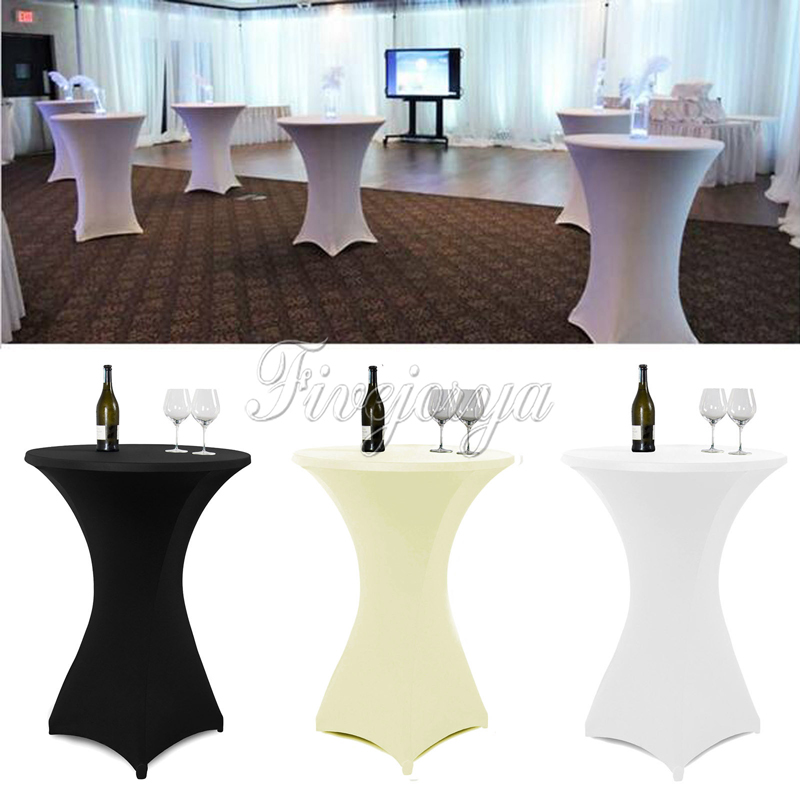 10pcs White/Black/Ivory Stretch Cocktail Lycra Dry Bar Spandex Table Cover Tablecloth Wedding Event Party Decor 60cm/80cm(China (Mainland))
