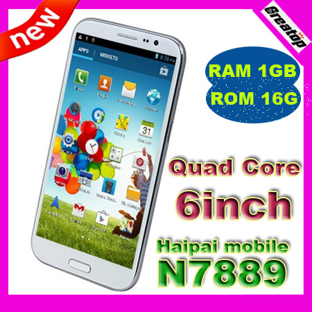 "6"" 1280x720 Haipai N7889 Quad core Android 4.2.1 phone MTK6589 RAM1GB+16GB 3G smart cellphone +Free case SG Post Free shipping"