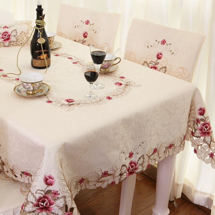 Elegant Embroidery Table Cloth,Modern European Rustic Table Cover,Luxury Brand Embroidered Tablecloth,Round/Square/Rectangle(China (Mainland))