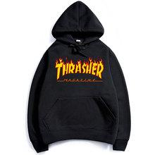 2017 thrasher Hoodies men Hip Hop Flame trasher Sportswear hoody Sweatshirt Solid Skateboard Pullover Hoodie Man brand Clothing(China (Mainland))