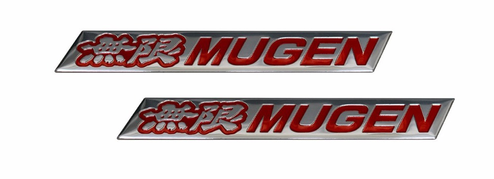2 x (pair/set) Mugen Embossed RED on Highly Polished Silver Real Aluminum Auto Emblem Badge Nameplate for Honda Acura Civic Fit(China (Mainland))