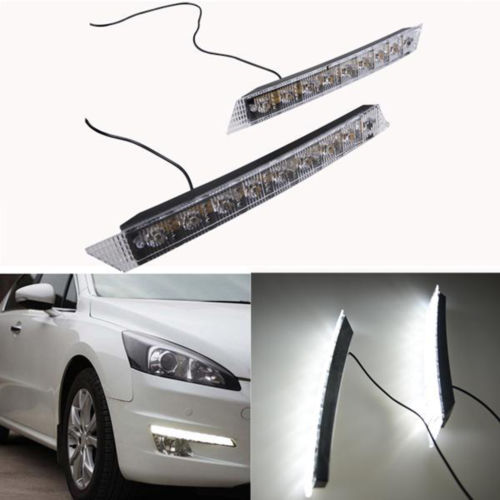 High Quailty 2 X Car Auto Daylight Kit Super White Daytime Running Light 9 LED DRL Head Lamp+(China (Mainland))