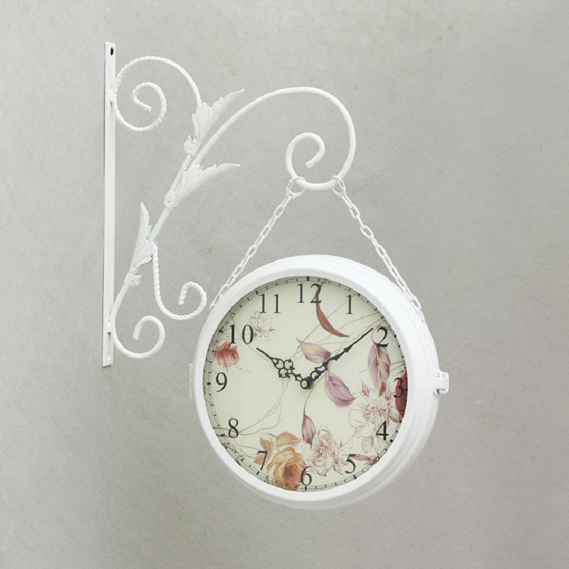 Wrought iron wall clock wanduhr home decor modern design for Plaque decorative murale