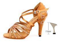 DILEECHI женские бронзовые красные атласные туфли для латинских танцев женские Стразы для сальсы вечерние свадебные туфли на высоком каблуке 10...(China)
