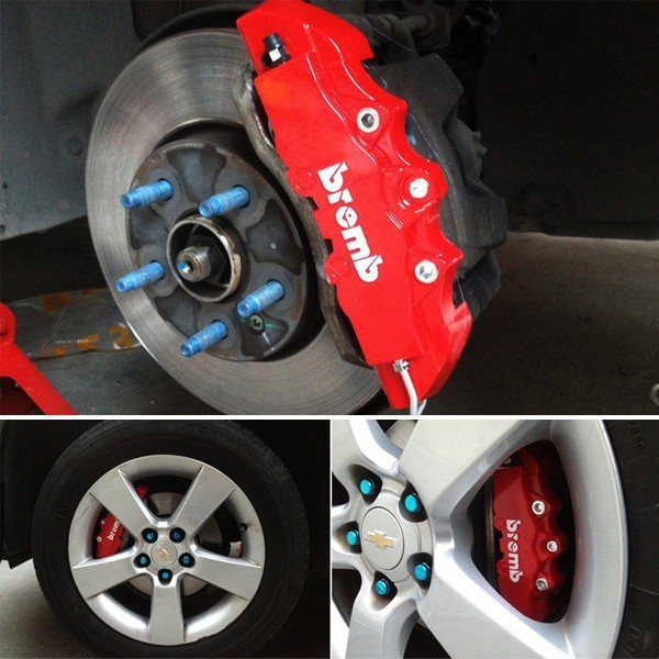 Plastic Measuring Caliper Covers : Free shipping red brembo style auto universal pcs set