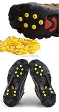 1Pair Free Shipping Ice Snow Shoes Spike Grip Boots Crampons Grippers 10 Studs Anti Slip kYVohm(China (Mainland))