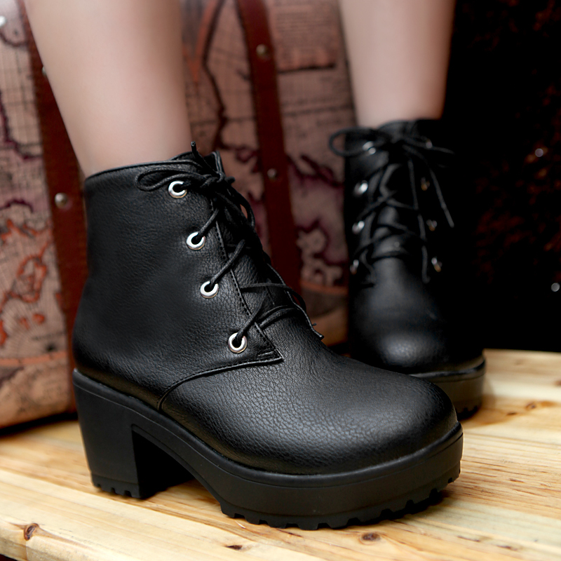 Lace Up Chunky Heel Platform Ankle Boots