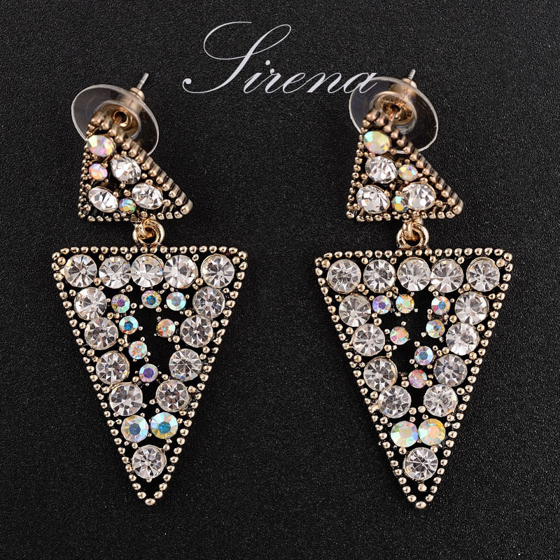 EC051 Luxury Austrian Czech Crystal Rhinestone Vintage Gold Triangle Chandelier Dangle Drop Earrings Prom Jewelry - SIRENA store