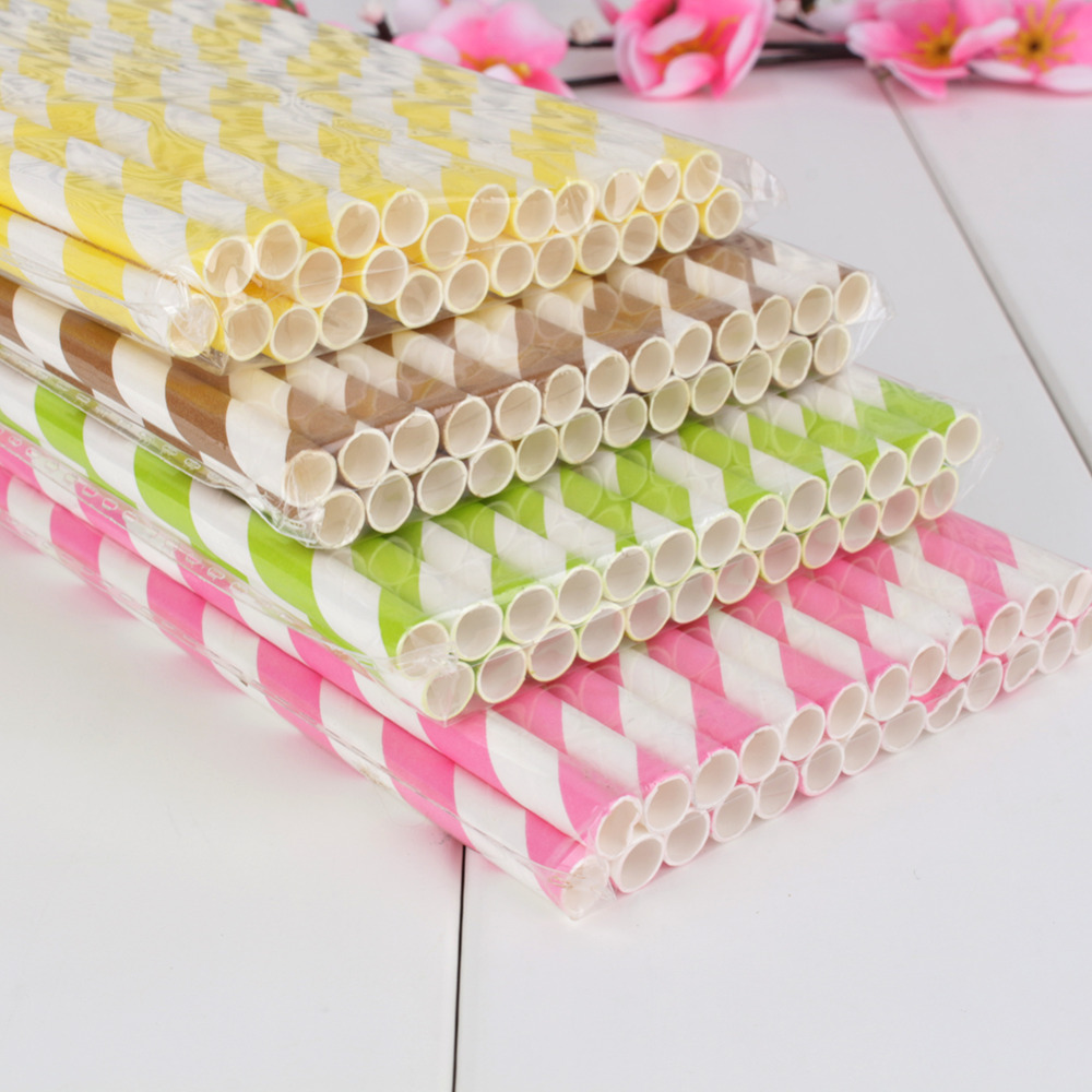 25pcs Drinking Striped Paper Straws Environment Friendly Straws Wedding Birthday Party Supplies(China (Mainland))