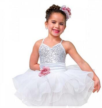 White and Silver Sparkle Sequin Ballerina Dress Kids Ballet Dresses for Girls Ballet Costume(China (Mainland))