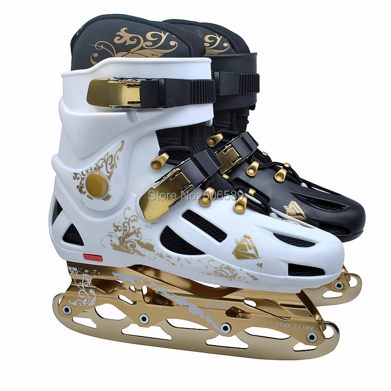 free shipping roller skates adult rich golden color #35--#46 roller skates ice skates hockey skates in one shoes(China (Mainland))