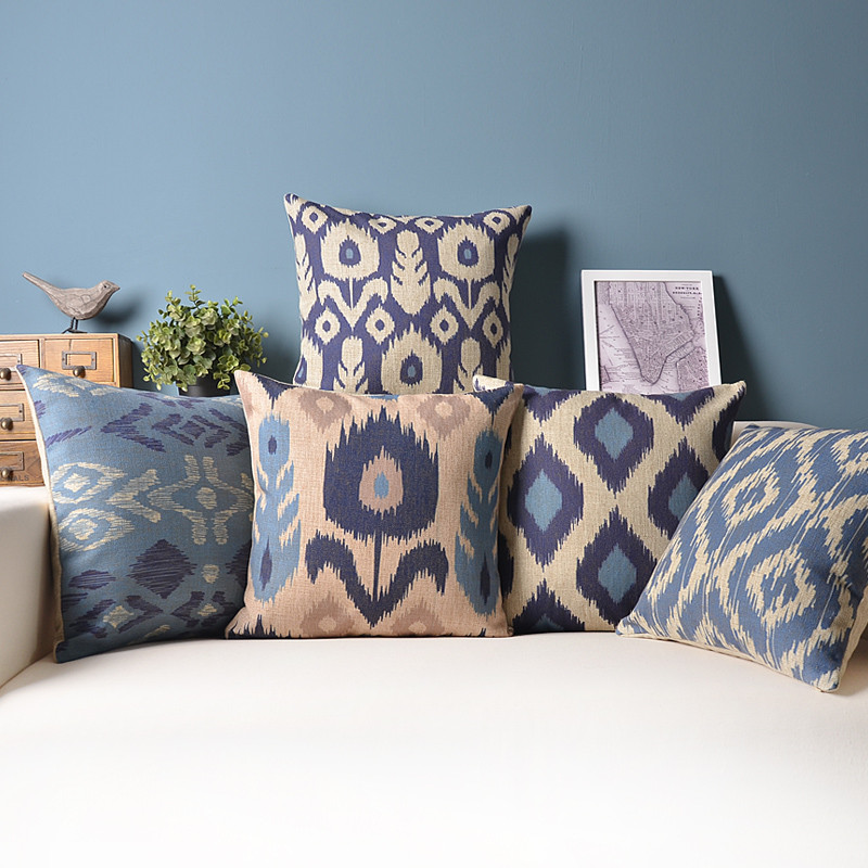 Decorative Pillows For Blue Couch : Ikat spell weave pattern Peacock feathers Blue rhombus car decorative throw pillows for sofa ...