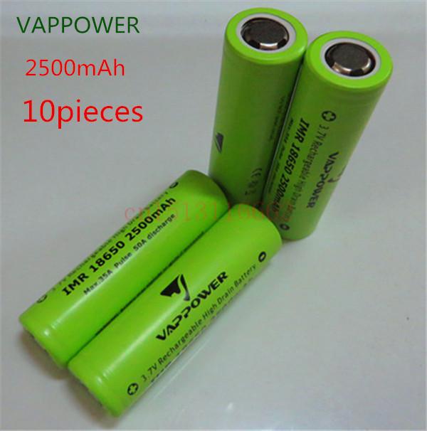 10 pieces/18650 Li-lon batteries/VAPPOWER new product 2500 3.7V enough capacity,flashlight batteries use free shipping(China (Mainland))