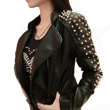 2016 Casaco Feminino Kim Kardashian Leather Jacket Spikes Stars Slim Bi-metal Rivet Locomotive Pu Leather Coats Women Jackets(China (Mainland))