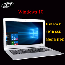 14 inch 4G RAM+64GB SSD+750GB HDD Windows 10 System Quad Core J1900 up to 2.42GHz Fast Running laptop notebook netbook computer(China (Mainland))