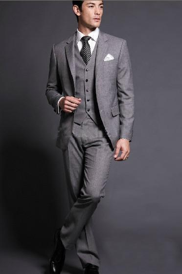 New Arrival light gray wedding suits for men slim fit groomsmen notched lapel tuxedos two-button men suits 3 piece groom suitОдежда и ак�е��уары<br><br><br>Aliexpress