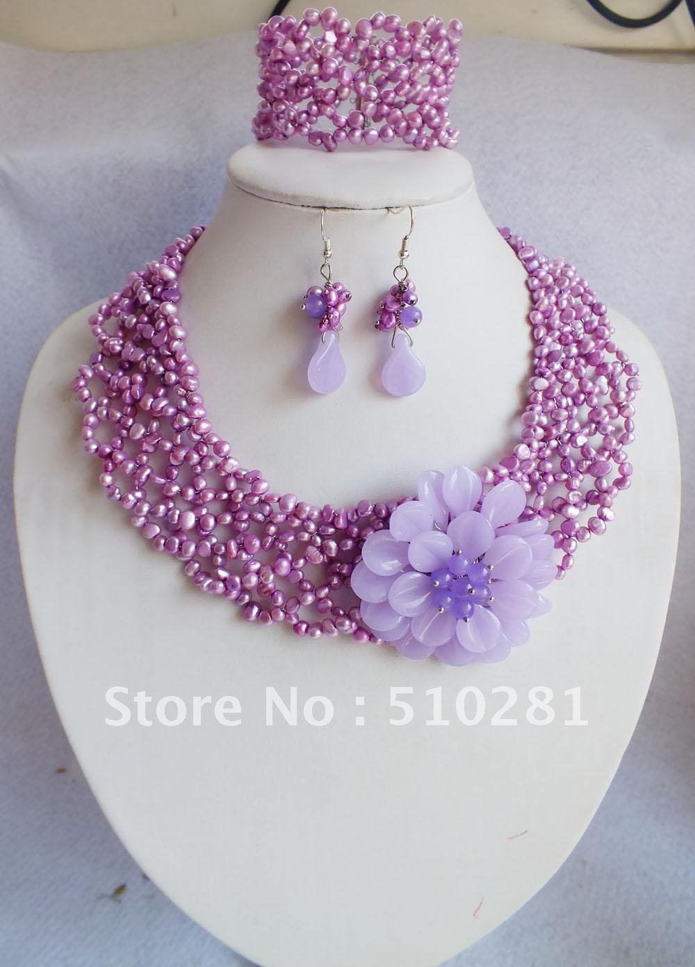 Free Shipping!!!Purple pearl+jade flower necklace+bracelet+earrings set(China (Mainland))