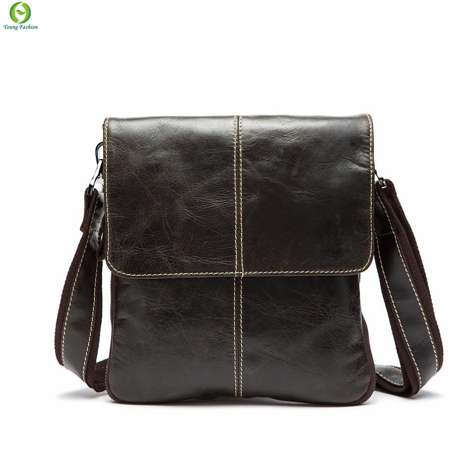 New fashion genuine leather men bags small shoulder bag Retro men messenger bag crossbody leisure bag black brown 3 colors <br><br>Aliexpress