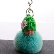 Sono Do Bebê Boneca Chaveiro pé Chupeta do bebê do falso Pele De Coelho Bola Pompom Chaveiro Car Chaveiro Mulheres Suporte Chave Charme jóias(China)