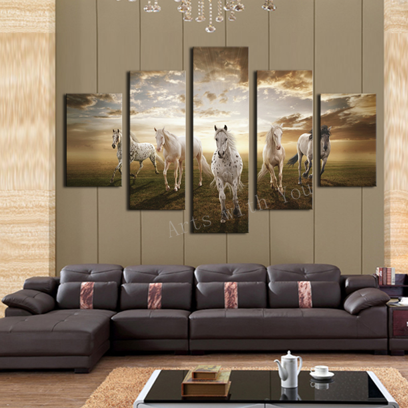 Cheap Price Art Pictures Running Horse Large HD Modern Home Wall Decor