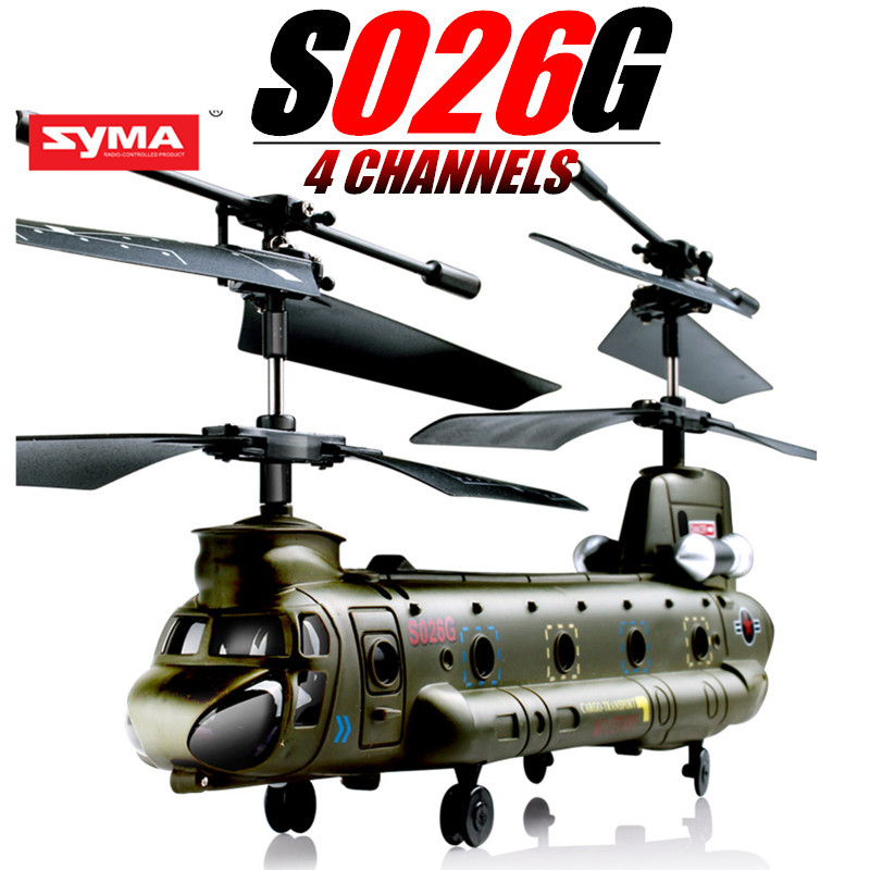 RC Drone Syma S026G RC Helicopter Quadcopter GYRO 3.5CH Mini Chinook RC Remote Control Helicopter Army Style toy FREE SHIPPING(China (Mainland))