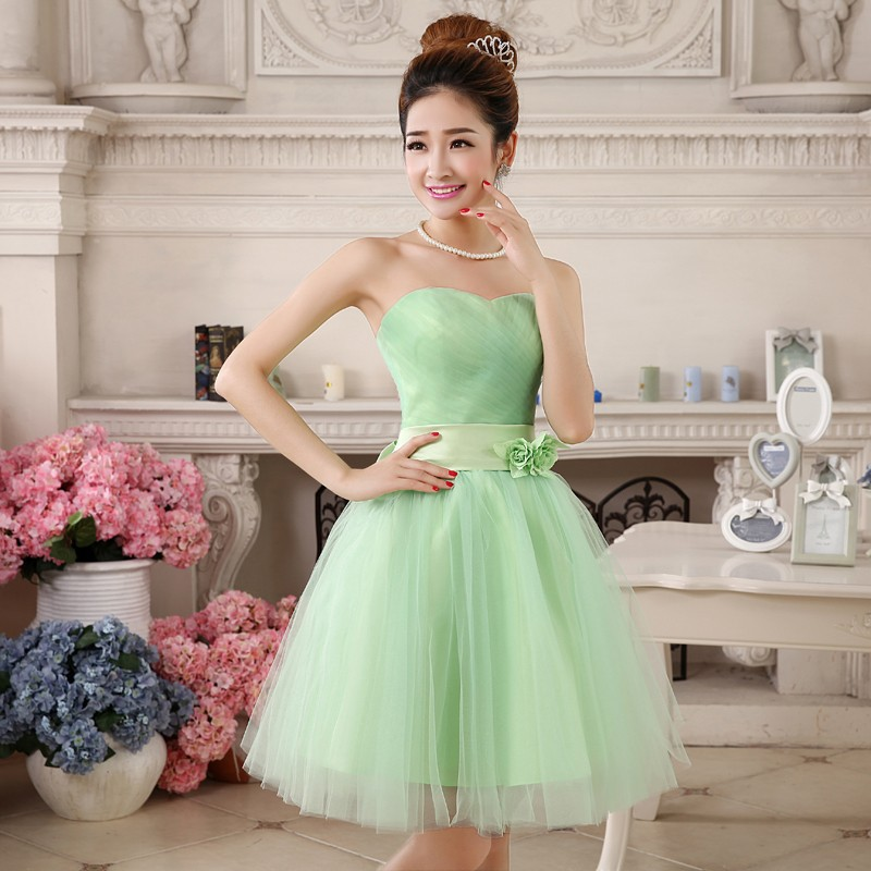 Lime green short bridesmaid dresses junoir bridesmaid for Short green wedding dresses