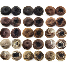 Women's Clip In Hair Buns Pieces Cover Chignon Synthetic Hair Extensions Elastic Cute Straight Hair Bun Chignon