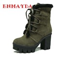 ENMAYDA Warm Winter Boots For Women New Big Size 34 43 Snow Boots Round Toe Lace