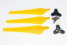 F11020-A 1 Set 12*4.5 Yellow Folding Nylon 3-Propeller Prop CW with 0328 Base Mount for Drone RC Multicopters