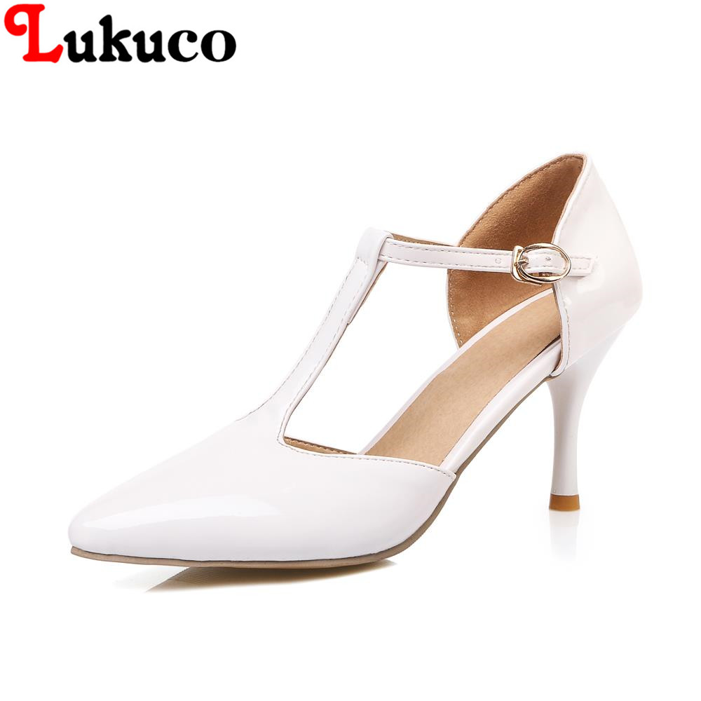 2016 new fashion spring women shoes USA size to12.5 thin heels pointed toe pumps T-strap cut-outs design high quality PU pumps<br><br>Aliexpress