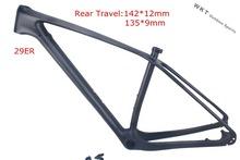 2016 new MTB frame  29er  T800  full carbon frame 142x12 thru axle MTB carbon frame 29er 135x9 compatible ems+fress shipping(China (Mainland))