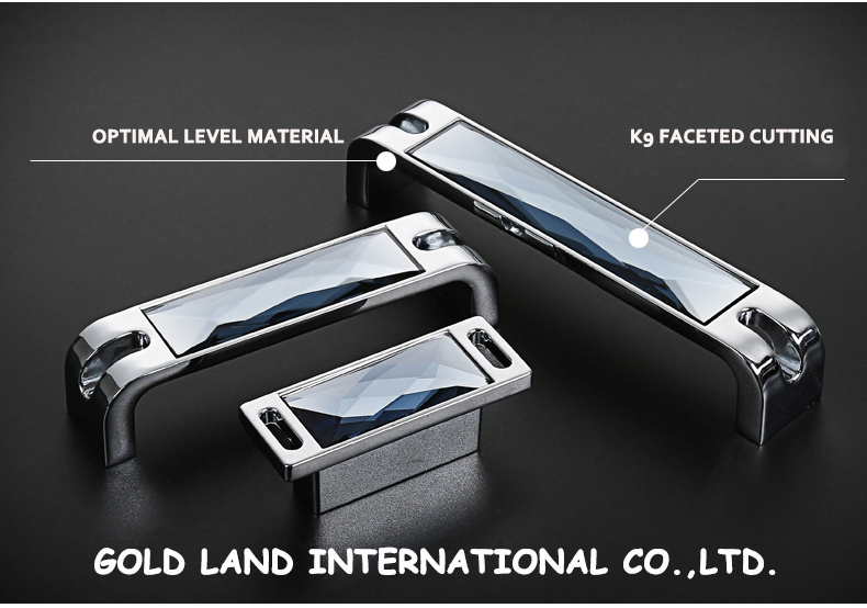 96mm bright chrome zinc alloy with gray crystal glass highest realm kitchen cabinet knob cupboard handle drawer pull gorgeous<br>