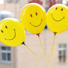 Free shipping wholesale 12inch yellow balloon with face printed latex balloon for party decoration 100pcs/lot(China (Mainland))