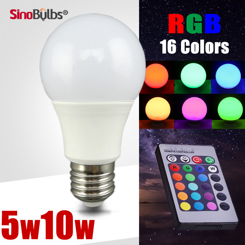 1pcs LED RGB Bulb light lamp, 5W 10W Base E27 E26 B22, Voltage 110V 220V , Remote Control ,16 Colors changable(China (Mainland))