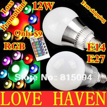 Innovative items AC 85-265V RGB LED Lamp 12W E27 led Bulb Lamp with Remote Control led lighting free shipping,cristmas,new year