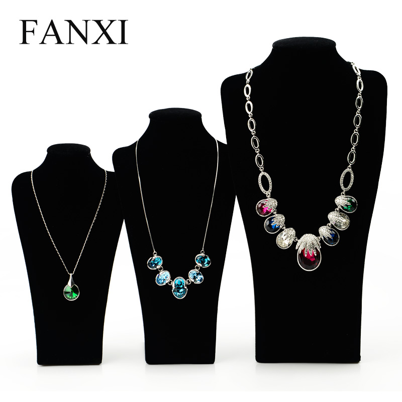 FANXI Classical Black Long Board Necklace Mannequin Display Stand for Plush Customized Model Bust 35cm Jewelry Display Stand(China (Mainland))