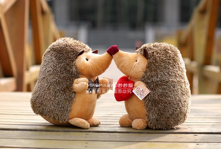 2 pcs Free Shipping NICI plush Hedgehogs doll baby toy, creative wedding dolls Couple Hedgehogs plush toys, wedding gifts 18cm(China (Mainland))