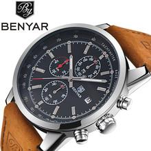 Buy Benyar Men Watch Top Brand Luxury Male Leather Waterproof Sport Quartz Chronograph Military Wrist Watch Men Clock montre homme for $19.99 in AliExpress store