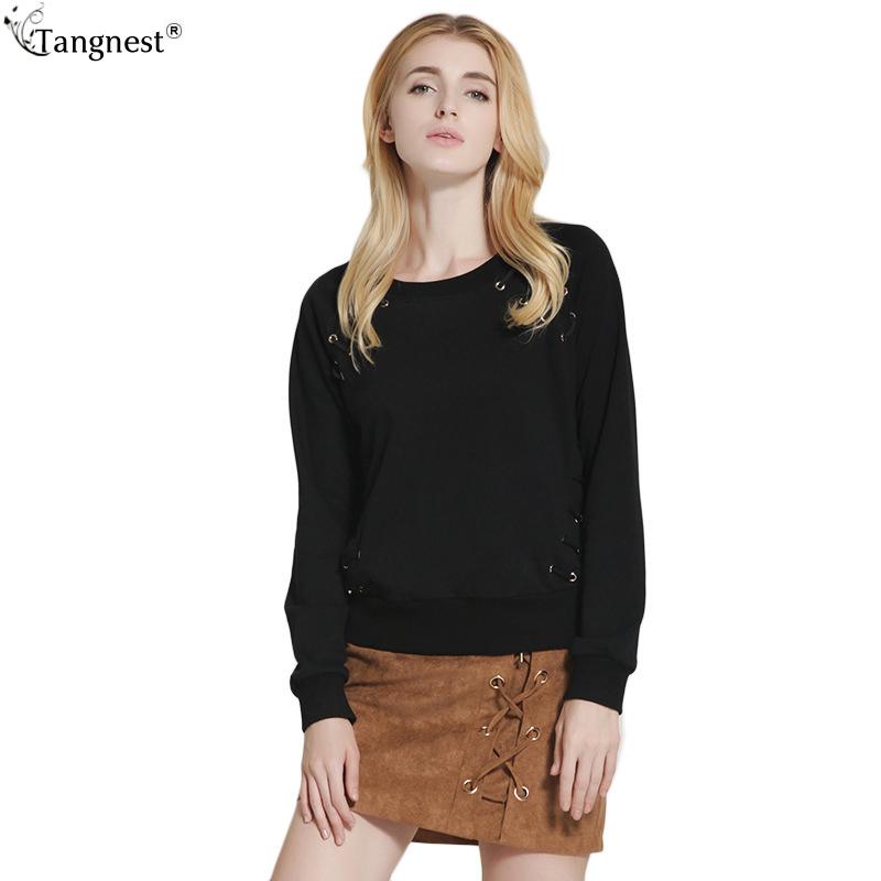 TANGNEST Casual Loose Bandage Sweatshirt 2017 Fashion Brand Design Hoodies Women Plus Size Warm Solid Pullover WWW724(China (Mainland))